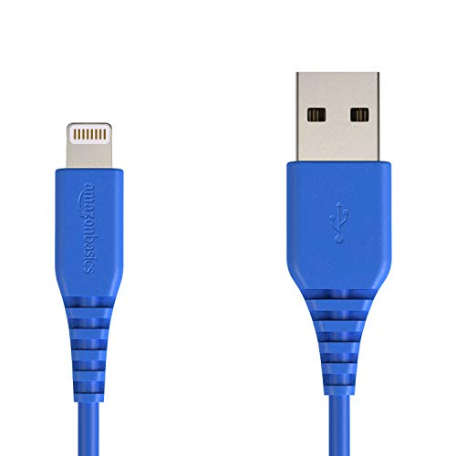 Amazon Basics MFi-Certified Lightning to USB A Cable for Apple iPhone and iPad - 4 Inches (10 Centimeters) - Blue