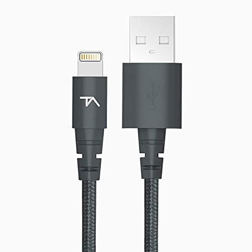 Tech Armor Apple MFi Certified Lightning Cable to USB A - 2FT Space Grey - Tough-Braided Extra-Strong Jacket - Sync/Charge iPhone & iPad